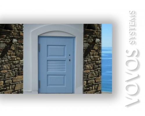 Πορτες Ξυλινες Βοηθητικες , Ξυλινη Πορτα Αποθηκης με γριλια εξαερισμου στην Μυκονο